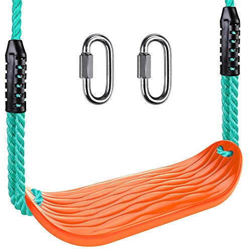 BeneLabel Heavy Duty Swing Seat with Carabiners, Playground Swing Set Accessories Replacement, Adjustable Rope, Longest 97.4', Shortest 66.7', Seat Width 17.5', 220LB Capacity, Ripple Orange