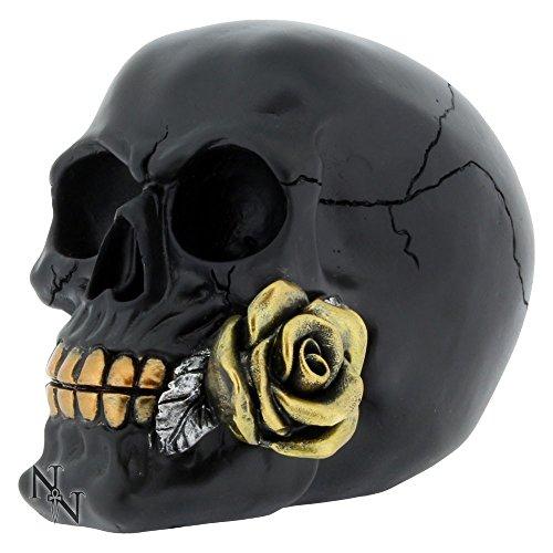 Tolle, schwarze Gothic-Rose in einer Totenkopf-Figur, Ornament, verpackt