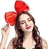 9 Colors Women's Girl's Bow Hair Bands Headdress Big Bowknot Hairband (Bright red)