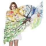 QMIN - Bufanda de seda para acuarela, diseño de árbol de cuatro estaciones, largo, ligero, chal de Sheel organizado, bufandas, silenciador para mujeres y niñas