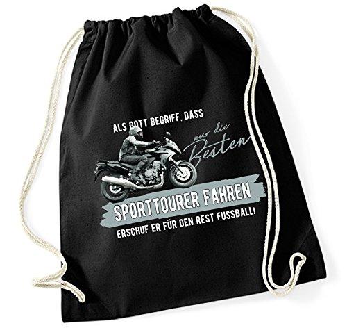 Siviwonder Turnbeutel - GOTT besten SPORTTOURER fahren vintage Bike NO Fußball Tourenmaschine Motorrad - Baumwoll Tasche Beutel schwarz
