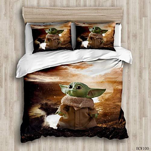 POMJK - Juego de ropa de cama de 3 piezas, diseño de Yoda de Star Wars con estampado de Yoda en 3D de poliéster, juego de funda nórdica Queen (Yoda-2, individual 135 x 200 cm)