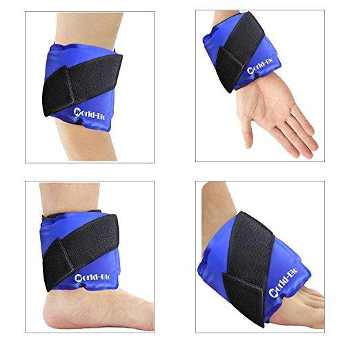 Bolsa de Hielo Reutilizables - con correa de compresión para terapia térmica - para rodillas, muñecas, tobillos, brazos, muslos, codos, piernas, cuello - 9.4