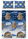 Baby Yoda Copripiumino Matrimoniale | Star Wars Mandalorian Night Duvet | Licenza Ufficiale Microfibra Reversibile Design Due Lati
