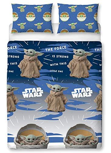 Offizielle Baby Yoda Mandalorian Bettwäsche-Kollektion – Einzel-/Doppelbettbezug – Kissen Mandalorianische Doppelbettdecke Double Duvet Cover 200 x 200cm
