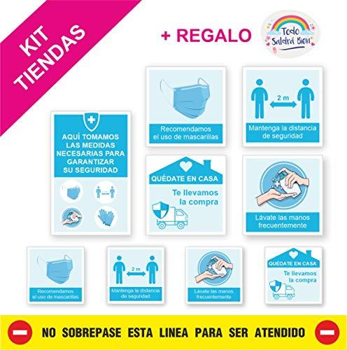 KIT 9 PEGATINAS MEDIDAS SEGURIDAD TIENDAS, super resistentes, lavables, vinilos medidas de seguridad tienda, con Lamina de Protección acabado mate.