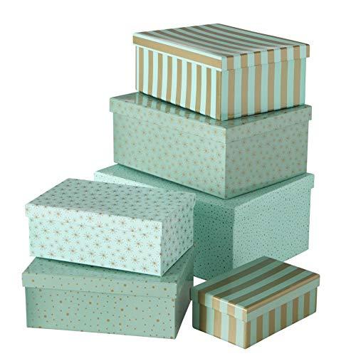 Geschenkschachtel Kartonage Box 6er Set Grün gold Punkte und Streifen L17-30cm rechteckig