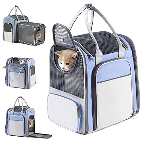 Cat Backpack Expandable - Cat Carrier Backpacks - Pet Backpack Carrier for Small Dogs Waterproof,Portable with Breathable Mesh Window,Soft and Comfortable,Tavel and Hiking,Blue,Up to 16lbs