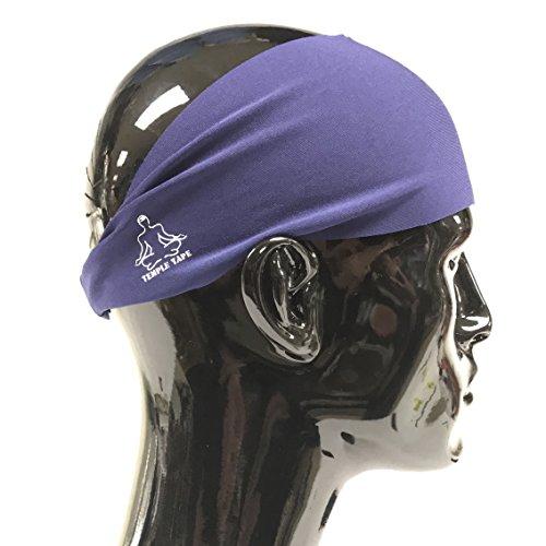 Temple Tape Headbands for Men and Women - Mens Sweatband & Sports Headband Moisture Wicking Workout Sweatbands for Running, Cross Training, Yoga and Bike Helmet Friendly - Navy