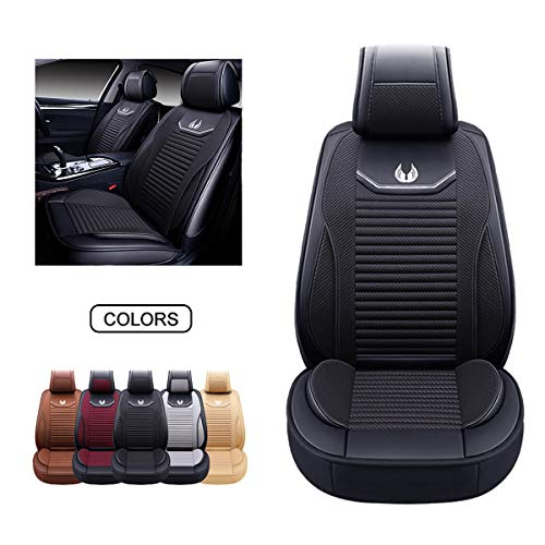 OASIS AUTO Leather&Fabric Car Seat Covers, Faux Leatherette Automotive Vehicle Cushion Cover for Cars SUV Pick-up Truck Universal Fit Set Auto Interior Accessories (OS-008 Front Pair, Black)