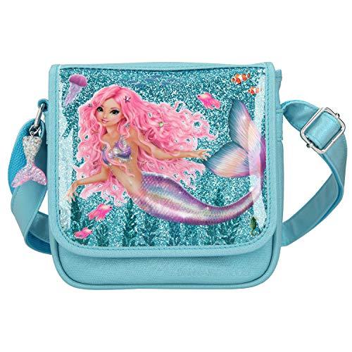 Depesche 11046 TOPModel Fantasy - Kleine Umhängetasche mit zauberhaftem Mermaid-Motiv, türkise Handtasche mit längenverstellbarem Tragegurt und Überschlag, ca. 6,5 x 20 x 20 cm