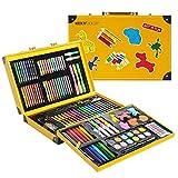 KIDDYCOLOR 159 piezas Conjunto Arte Deluxe en Maletín, Para Niños Set Material Escolar , incluye lápices de colores, pasteles de óleo, acuarelas, pinceles para pintar