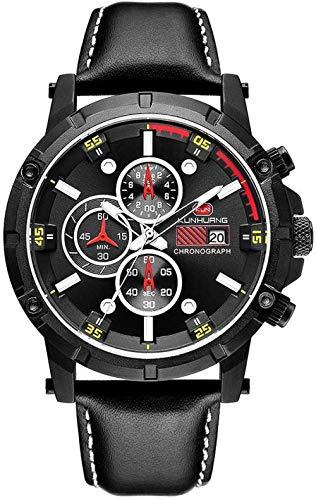 KLT Herren-Armbanduhr, wasserdicht, analog, Quarz, Chronograph, Edelstahl-Zifferblatt, schwarzes Lederarmband mit Geschenk-Box