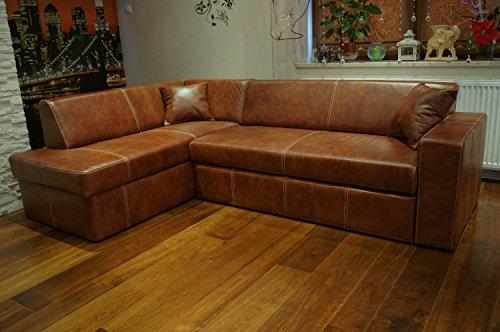 Quattro Meble Echtleder Ecksofa Antalya I 245 x 164cm + 2 x Lederkissen Sofa Couch mit Bettfunktion und Bettkasten Echt Leder Eck Couch