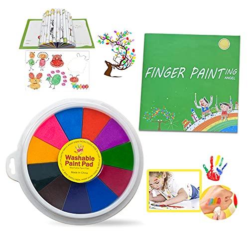 Divertente Kit per Dipingere con le Dita, Colori a Dita per Bambini Non Tossici, Tempere Lavabili per Bambini, Tampone per Pittura a 12 Colori con Libro da Colorare con le Dita