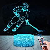 QiLiTd 3D Eishockey Lampe LED Nachtlicht mit Fernbedienung, 16 Farben Wählbar Dimmbare Touch Schalter Nachtlampe Geburtstag Geschenk, Frohe Weihnachten Geschenke Für Mädchen, Männer, Frauen, Kinder