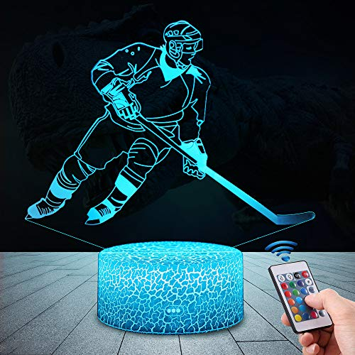 QiLiTd 3D Eishockey Lampe LED Na...