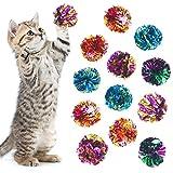 24 Piezas Pelotas de Juguetes Coloridos de Gato Arrugado Bolas Mylar de Gatito con Sonido Susurro para Jugar e Interactuar con Gatos (Color Aleatorio)