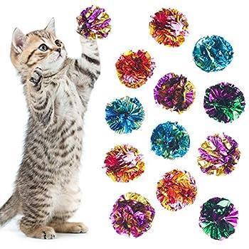 Sumind 24 Pièces Jouets Boules Colorés de Chat Froissé Mylar Balle de Chat Chaton avec Bruit de Bruissement pour Jouer et Interagir avec Les Chats (Couleur Aléatoire)