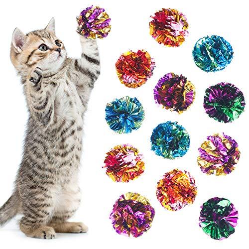 24 Stücke Bunte Crinkle Bälle Katzen Spielzeug Bälle Kitten Mylar Bälle mit Rustle Klang für Spielen und Interagieren mit Katzen (Zufällige Farbe)