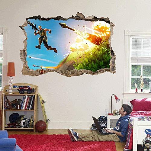 Pegatinas de pared Anime videojuego smashing hole etiqueta de la pared calcomanía mural de bricolaje para adolescentes y niños decoración de la habitación Póster Arte 3D Mural 50x70cm