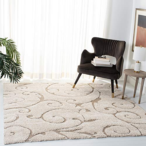 Safavieh Florida Shag Collection SG455-1113 Scrolling Vine Cream and Beige Graceful Swirl Square Area Rug (4' Square)