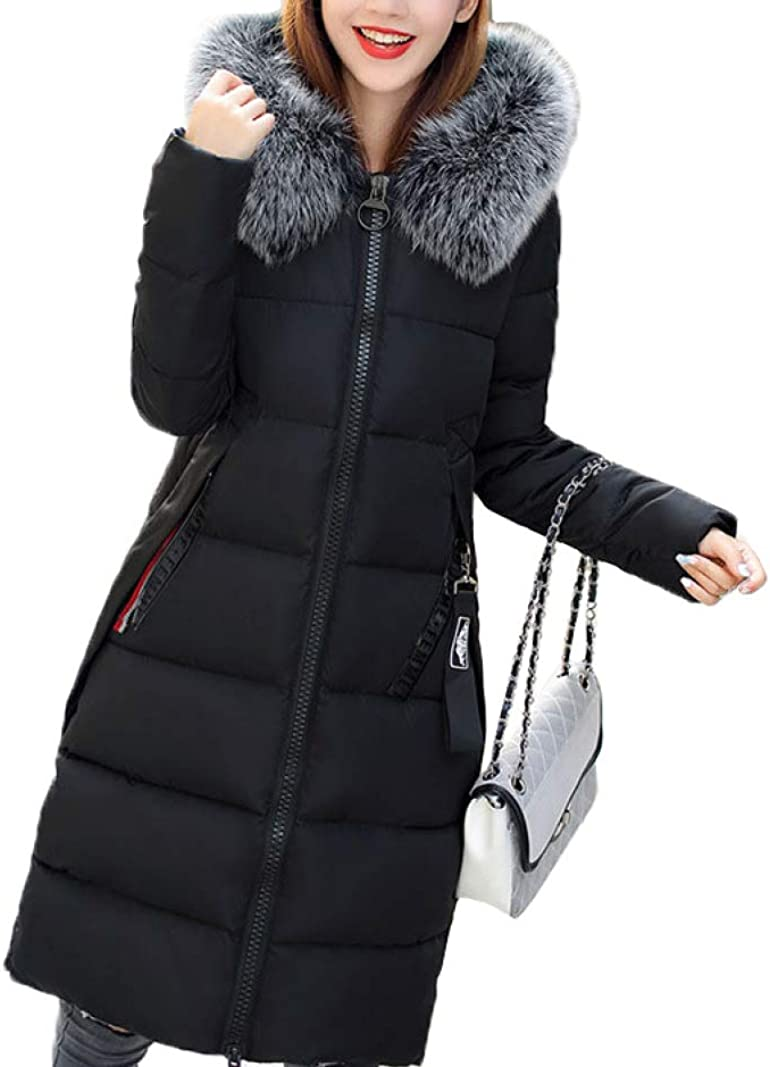 Winter Down Coat Hooded Fur Collar Long Warm Women Windproof Thickened Down Coat Overcoat for Outdoor Camping