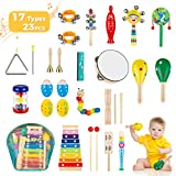 Obuby Kids Musical Instruments Sets 17 Types 23 pcs Percussion Instruments for Toddler Preschool Educational Wooden Toys with Storage Bag for Kids Baby Babies Children Boys and Girls