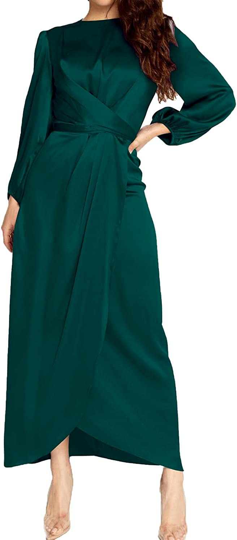 PINUPART Women's Elegant Empire Waist Long Sleeve Satin Maxi Dress