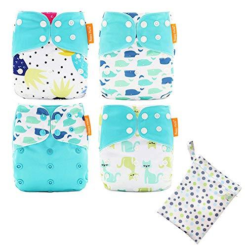 Mornyray おむつカバー 赤ちゃん 布おむつ 新生児 ベビー用 外ベルト 4枚セット サイズ調整可能 出産祝い 通気性 防水加工 防水収納袋付き