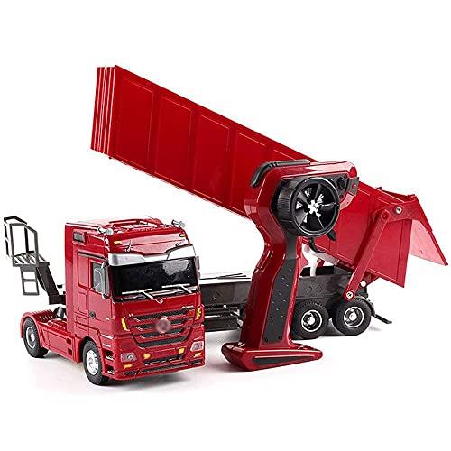 Nsddm 50 cm Gran RC camión Pesado 6 Canales RC Coche 2.4G Control Remoto eléctrico Coche volquete camión Pesado con Faros simulación Transporte vehículo niños niño