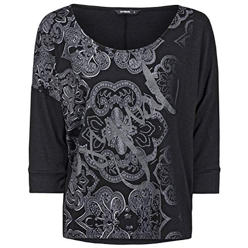 Desigual TS_Nisa Camiseta, Negro 2000, S para Mujer