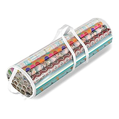 Whitmor Clear Gift Wrap Organizer - Zippered Storage 25 Rolls