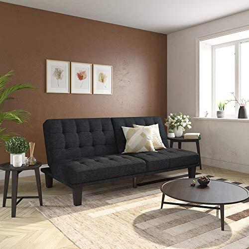 DHP Dexter Futon & Lounger, Convertible Sofa Bed & Couch, Navy Blue Futon,