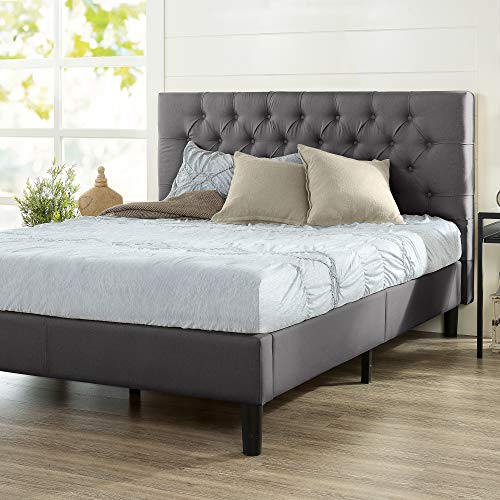 ZINUS Misty Upholstered Platform Bed Frame / Mattress Foundation / Wood Slat Support / No Box Spring Needed / Easy Assembly, Charcoal Grey, Queen