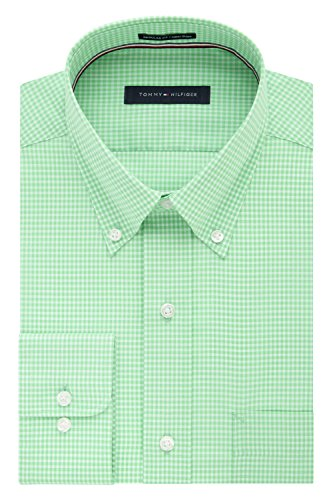 Tommy Hilfiger mens Regular Fit Non Iron Gingham Dress Shirt, Sea Grass, 15.5 Neck 32 -33 Sleeve Medium US