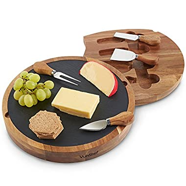 VonShef Round Slide Out Acacia Wood and Slate Cheese Serving Board with 4 Piece Specialist Knife Set, 11.8 Inch Diameter
