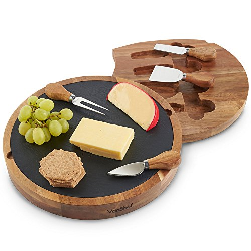 VonShef Cheese Boards with Knives Sets - Bamboo, Slate, Slide-Out Drawers,...