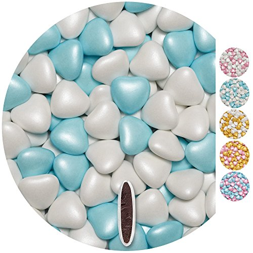 EinsSein 1kg Corazones de Chocolate grageas boda bautizo Mezcla medio blanco-azul claro perla corazon amor formas bombones confeti peladillas candy bar cumpleaos nios regalos Tradicin italianas