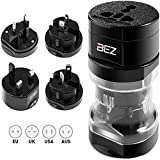 BEZ Travel Adapter, Universal Plug Adapter, International Plug [US UK EU AU] 5-Piece Set