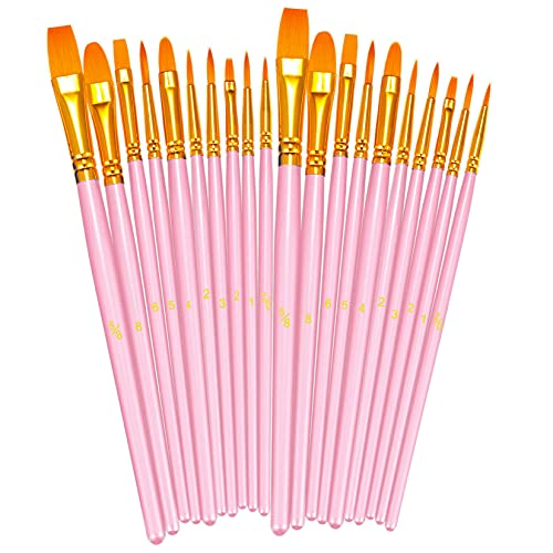 BOSOBO Paint Brushes Set, 2 Pack 20 Pcs Round Pointed Tip Paintbrushes Nylon Hair Artist Acrylic Paint Brushes for Acrylic Oil Watercolor, Face Nail Art, Miniature Detailing & Rock Painting, Pink