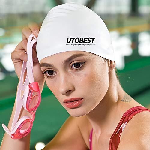UTOBEST Badekappe wasserdichte rutschfeste Unisex-Badekappe für Erwachsene,Frauen und Männer, Einheitsgröße - Schwarz und Weiß (Weiß)