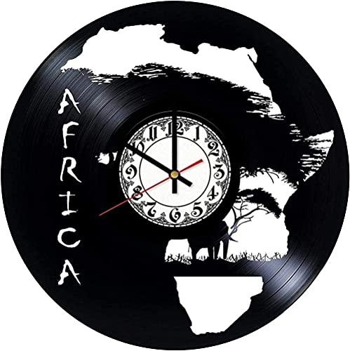 GONGFF Vinyl Wanduhr 12 Zoll Vinyl Schallplattenuhr-Afrikanische Landschaft Kreative Retro Uhr Dekoration