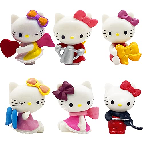 6 Pcs Hello Kitty Cake Topper Mini Figures Set Hello Kitty Birthday Party Supplies Cupcake Figurines for Cake and Car Decoration(G)