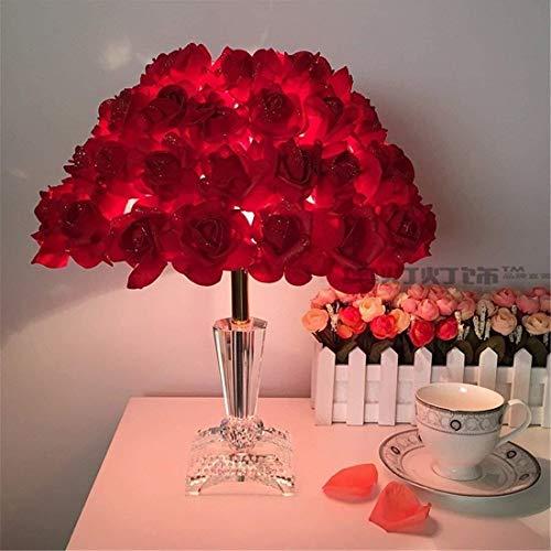 Rose lámpara de mesa de cristal, romántica boda de Deco lámpara de mesa for sala de estar Dormitorio