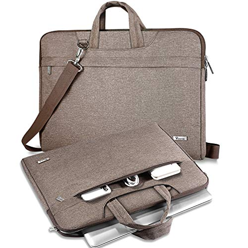 V Voova 17 17.3 Laptop Sleeve Bag Shockproof Computer Case Cover with Carrying Strap&Handle Compatible with MacBook Pro 16/Surface Book 2/Chromebook 16,Khaki