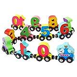 TOYMYTOY 1 Juego de Juguetes de Tren de Madera Número Magnético Tren Coche Juguetes Número Bloques de Construcción Montessori Juguete Educativo para Niños Pequeños Aprendizaje Conteo