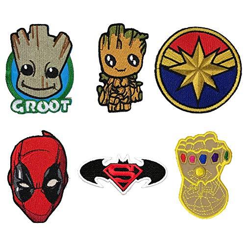 Aufnäher mit Batman-Logo, Superman, Groot, Deadpool, Captain Infinity Gauntlet Logo, zum Aufbügeln oder Aufnähen, bestickt, für Jacken, Rucksäcke, Jeans und Kleidung, 6 Stück