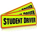 Student Driver Magnet Car Signs for The Novice or Beginner. Better Than A Decal or Bumper Sticker (Reusable) Reflective Magnetic Large Bold Visible Text (12' Student Driver Reflective)
