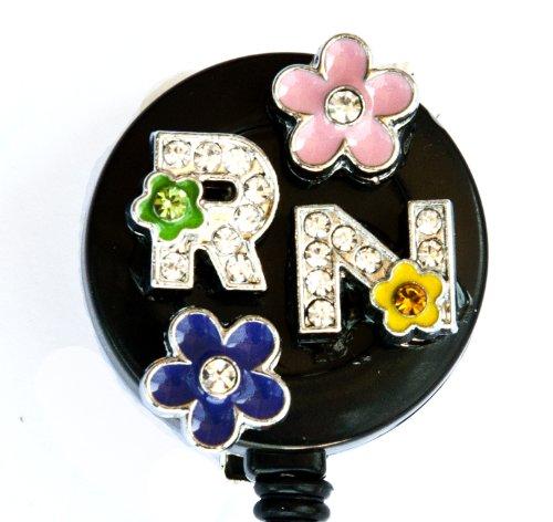 3D GREEN AND PINK CRYSTAL FLOWER RN LOGO Nurse Rhinestone Retractable Badge Reel/ ID Badge Holder